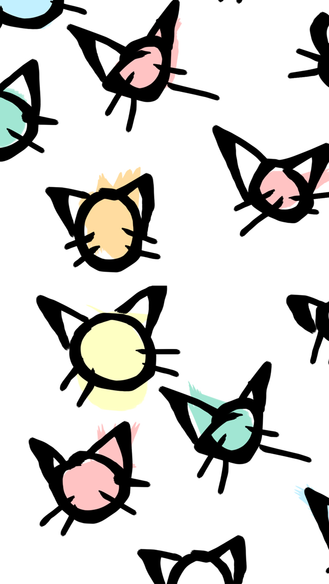 Cat-Themed Heads Illustration Wallpaper for Smartphones