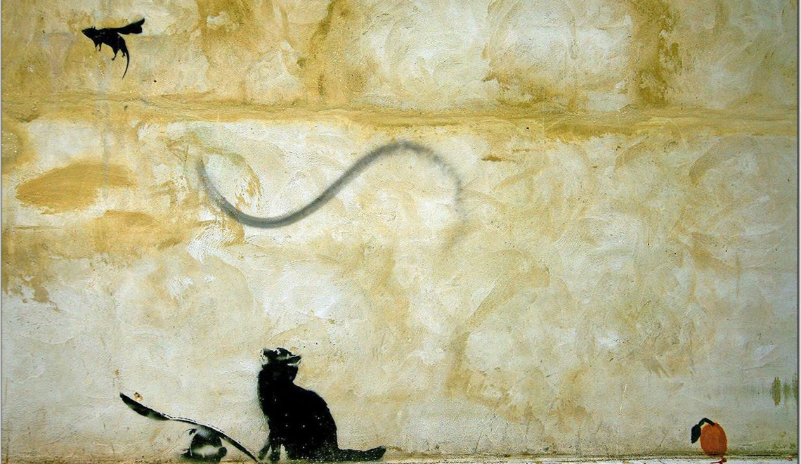 Banksy Art: Cat Projecting a Cat Gift into the AIr