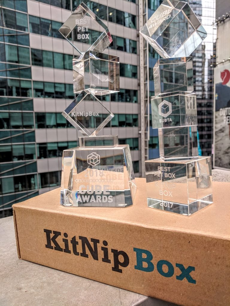 KitNipBox's Cube Awards for Best Pet Subscription Box, 2018 & 2017